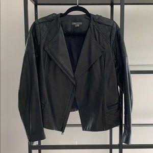 Vince Womens symmetrical black leather jacket